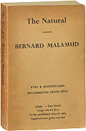 Bernard Malamud's The Natural - Uncorrected Bound Proof