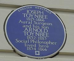 Joseph Toynbee and Arnold Toynbee, Blue Plaque, Wimbledon