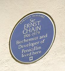 Sir Ernst Chain, Blue Plaque, Wimbledon