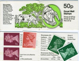 Gloucester Old Spot Pig Postage Stamp Book 50p Harry Titcombe