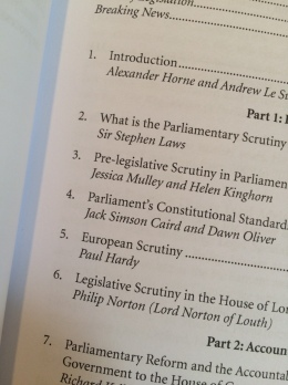 And here's my chapter - Pre-Legislative Scrutiny in Parliament